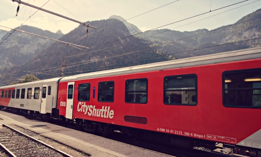 Obertraun train station. Wouldn't mind to wait for train for hours! So beautiful!