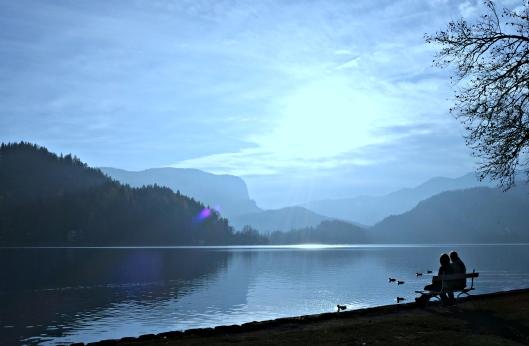 bled fog slovenia lake