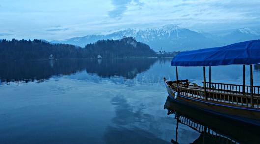 bled slovenia lake boats mountains